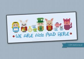 Mini People - We're all mad here cross stitch by cloudsfactory