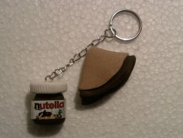Keychain with nutella and crepes fimo by bimbalove81