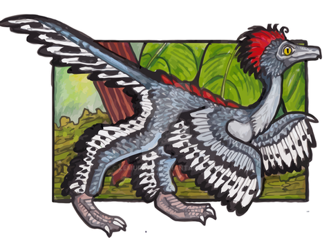 Feathered Dinosaur: Anchiornis huxleyi by lemurkat