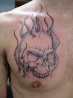 skull in flames 2 by markfellows