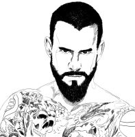 CM Punk in b w by k4k7uz