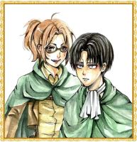 Levi and Hanji watercolors by AkaReikou