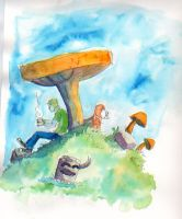 Resting under the Mushrooms by Jcoon