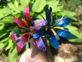 Recycled Blue Pink Lilies by Christine-Eige