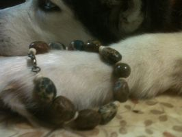 Me with Green Stone and Bone bracelet, again by SadiesAccessories