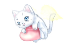 White Fluffy Kitty by Chibi-Rie