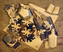 Reptiles Wood Carving by M-C-Escher-Style