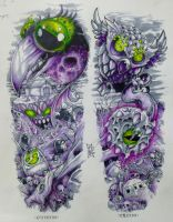 Half sleeve commission graveyard by Rogercarter