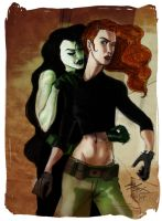 Life-Like Kim and Shego by sapphicspencil