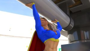 Supergirl lifts a heavy weight by DahriAlGhul