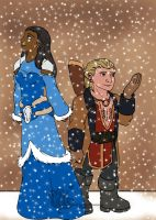 Hawke and Varric First Snow by Kelticmoon24