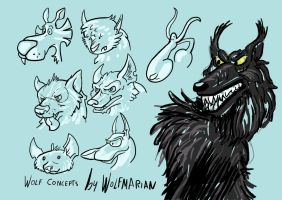 Wolf Concepts Doodles - Cartoon Wolf Designs by wolfmarian