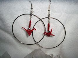 Origami Crane Hoop Earrings by Sarinilli