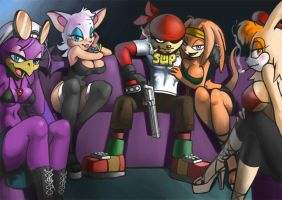 Gangsta and his hoes by bittenhard