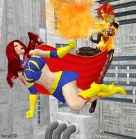 Dark Inferna vs Mindy Marvel by hotrod5