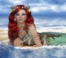 Red Haired Mermaid by CaperGirl42
