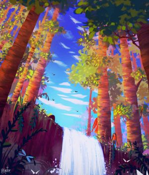 Forest Waterfall by FancyFoxy