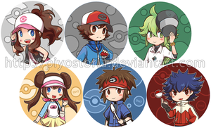 Pokemon Gen V Trainers buttons by piyostoria
