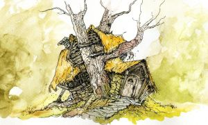 Brown Wizard's Home from the Hobbit by LevonHackensaw