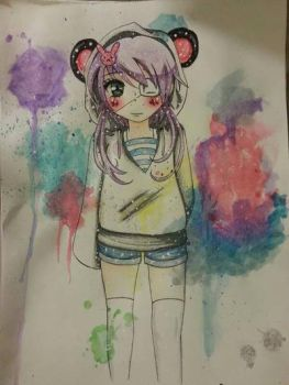 Kawaii  Watercolor / Color pencil by 0-t-a-k-u
