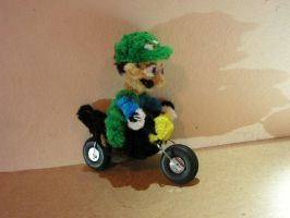 Luigi on a motorcycle by fuzzyfigureguy