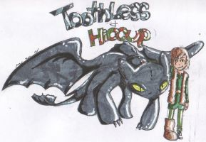 Hiccup and Toothless by ButtonsAvenger