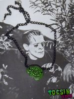 FRANKENSTEIN'S MONSTER BRAIN NECKLACE by TocsinDesigns