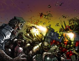 Deadpool vs. Zombies Colorized by DanielMead