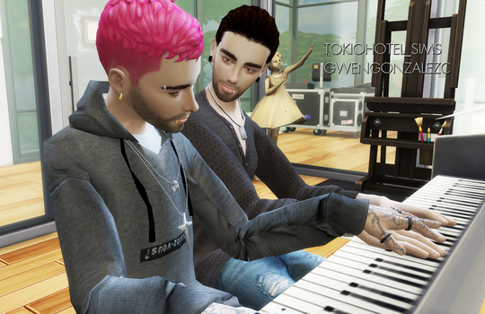 Bill and Tom Kaulitz Sims4 PIANO LESSONS by GwenGC