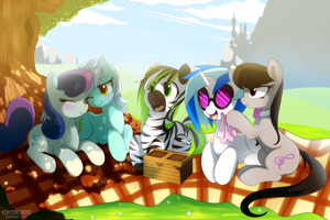 having a picnic with friends by hyperfreak666