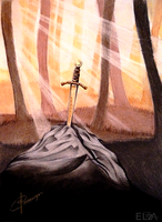 Excalibur, sword in the stone by Elzza