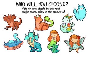 VOTE FOR THE NEXT KAWAII CHARM! by michellescribbles