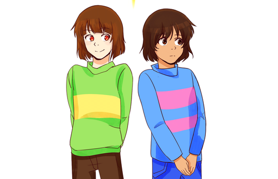 Chara and Frisk:  Watching you [GIF] by atomicheartlight