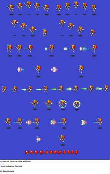 Super Armored Knuckles the echidna advance sprites by earthbouds