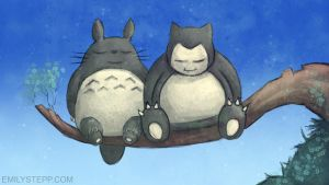 Totoro and Snorlax Nap Time by EmilyStepp