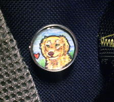 Golden Retriever Button Pin by thelunacy-fringe