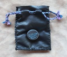 Leather Wolf Drawstring Pouch by lupagreenwolf