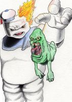 Slimer and Stay Puft by happyorangutan