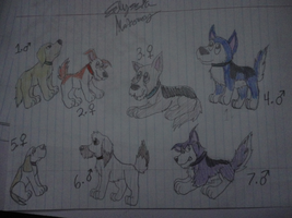 7 Puppies adoption by Ember-Flame007