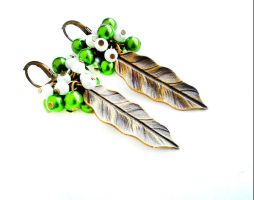 Garden of Eden - Glass Pearl Bronze Leaf Earrings by crystaland