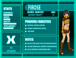 Young Justice OC- Firose Profile by Kaitann