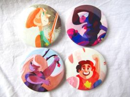 We Are the Crystal Gems - Button Set by HNAutumn