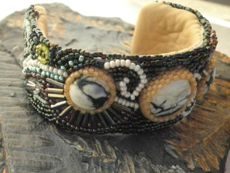 Seed Bead  n Lamp work Cuff by CeltCraft