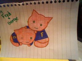 Fred and George Kitties by PhantomhiveButler427