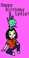 Jade and Gir birthday card by jak-teh-ripper