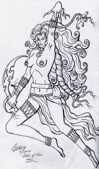 Goddess of Chaos entry lineart by lilmoongodess
