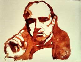 godfather 12 in x 16 in Canvas on coffee by D-stractor