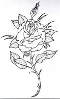 Rose Outline 3 by vikingtattoo
