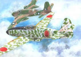Ki-61 hein and A-20 RAAF by acrylicwildlife