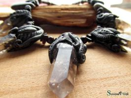 Necklace with smokey quartz points - closeup by SuvetarsWell